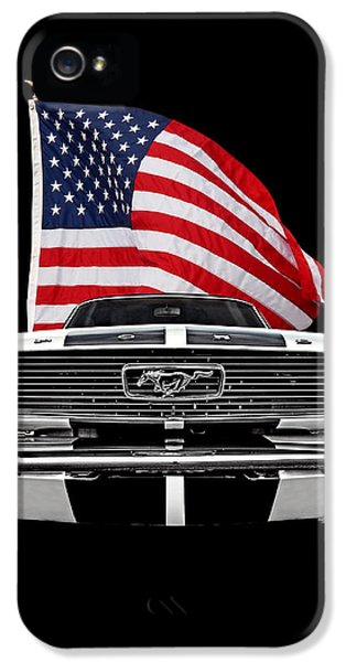 66 Mustang With U.s. Flag On Black IPhone 5 Case