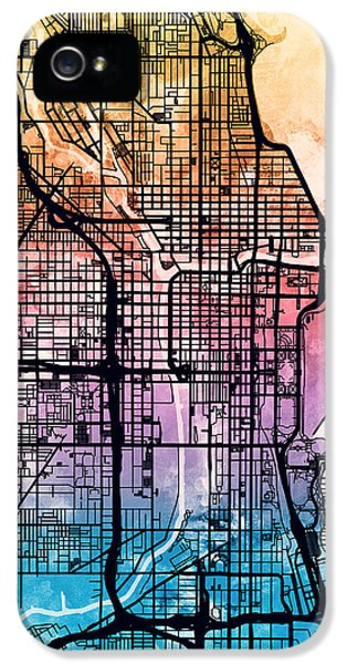 Grant Park iPhone 5 Case - Chicago City Street Map by Michael Tompsett