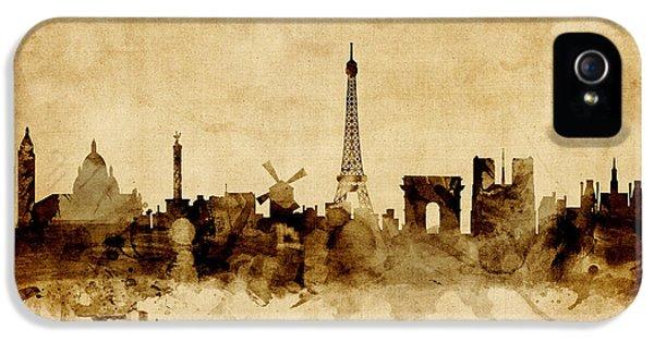 Paris France Skyline IPhone 5 Case by Michael Tompsett