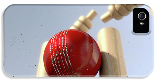 Cricket Ball Hitting Wickets IPhone 5 / 5s Case by Allan Swart
