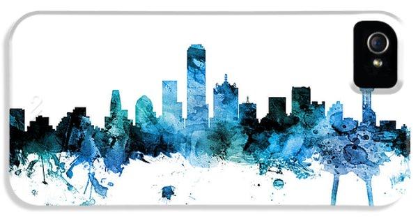 Dallas iPhone 5 Case - Dallas Texas Skyline by Michael Tompsett