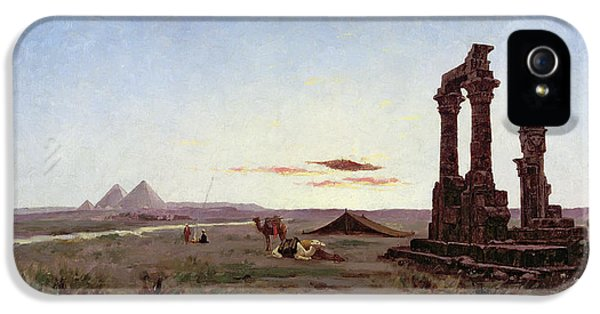 A Bedouin Encampment By A Ruined Temple  IPhone 5 Case by Alexandre Gabriel Decamps
