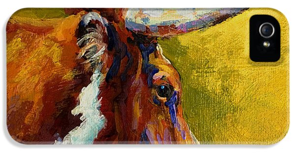 Cow iPhone 5 Case - A Couple Of Pointers - Longhorn Steer by Marion Rose