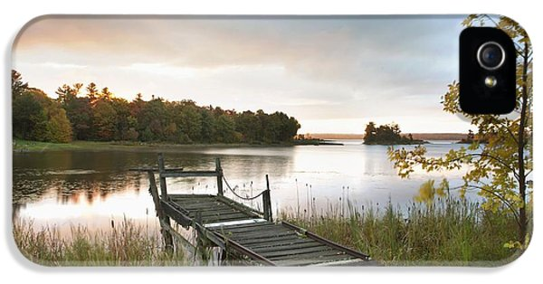 No People iPhone 5 Cases - A Dock On A Lake At Sunrise Near Wawa iPhone 5 Case by Susan Dykstra