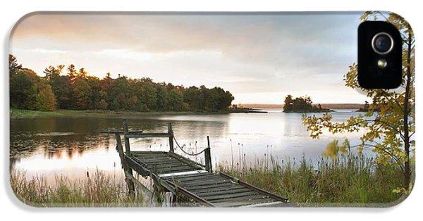 A Dock On A Lake At Sunrise Near Wawa IPhone 5 Case by Susan Dykstra