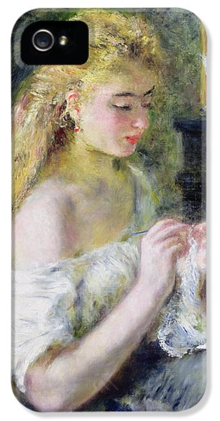 A Girl Crocheting IPhone 5 Case by Pierre Auguste Renoir