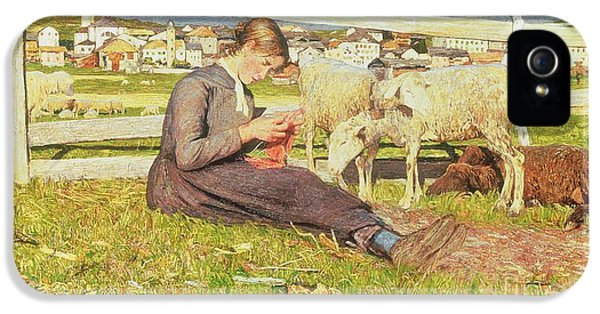 A Girl Knitting IPhone 5 Case by Giovanni Segantini