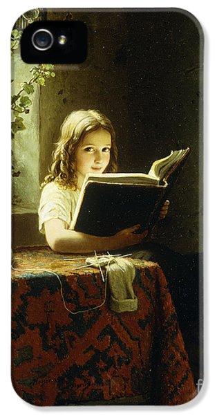 A Girl Reading IPhone 5 Case by Johann Georg Meyer