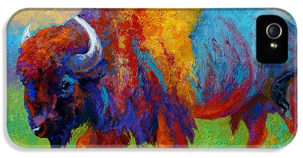 Bulls iPhone 5 Cases - A Journey Still Unknown - Bison iPhone 5 Case by Marion Rose
