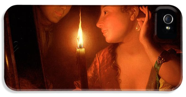 A Lady Admiring An Earring By Candlelight IPhone 5 Case by Godfried Schalcken