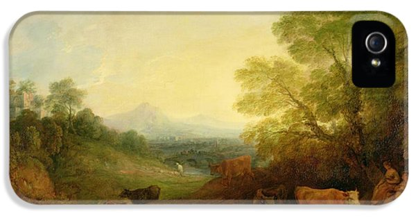 A Landscape With Cattle And Figures By A Stream And A Distant Bridge IPhone 5 Case by Thomas Gainsborough