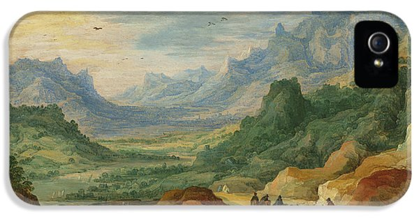 A Mountainous Landscape With Travellers And Herdsmen On A Path IPhone 5 Case by Jan Brueghel and Joos de Momper