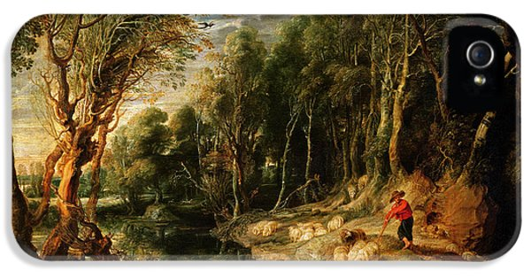 A Shepherd With His Flock In A Woody Landscape IPhone 5 Case by Rubens