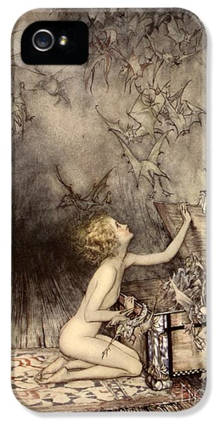 A Sudden Swarm Of Winged Creatures Brushed Past Her IPhone 5 Case by Arthur Rackham