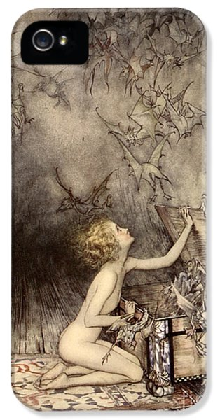 A Sudden Swarm Of Winged Creatures Brushed Past Her IPhone 5 / 5s Case by Arthur Rackham