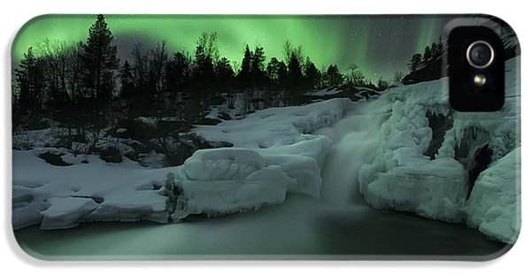 Dramatic Skies iPhone 5 Cases - A Wintery Waterfall And Aurora Borealis iPhone 5 Case by Arild Heitmann