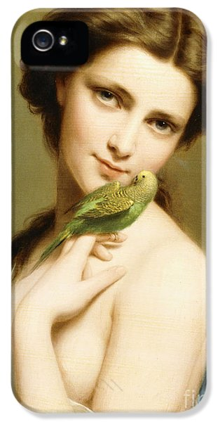 Parakeet iPhone 5 Case - A Young Beauty With A Parakeet by Fritz Zuber-Buhler