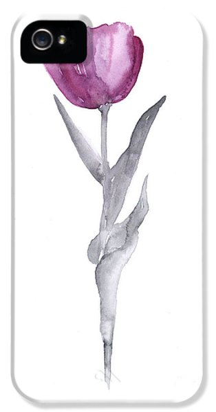 Abstract Tulip Flower Watercolor Painting IPhone 5 Case by Joanna Szmerdt