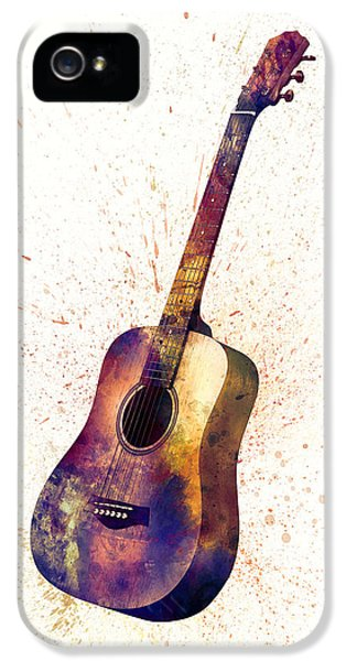 Acoustic Guitar Abstract Watercolor IPhone 5 Case by Michael Tompsett