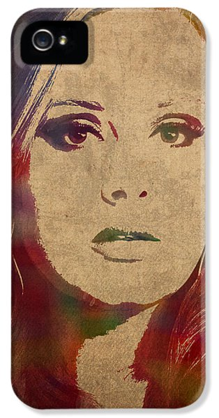Adele Watercolor Portrait IPhone 5 Case by Design Turnpike