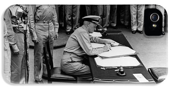 Admiral Nimitz Signing The Japanese Surrender  IPhone 5 Case by War Is Hell Store