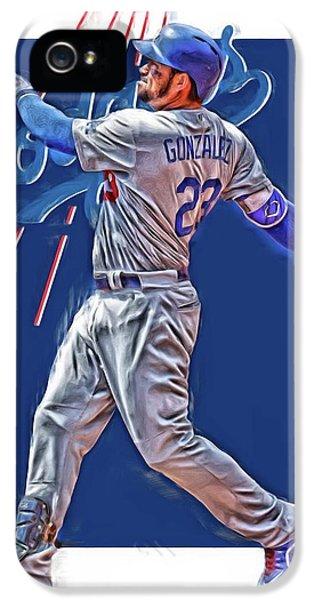 Los Angeles Dodgers iPhone 5 Case - Adrian Gonzalez Los Angeles Dodgers Oil Art by Joe Hamilton