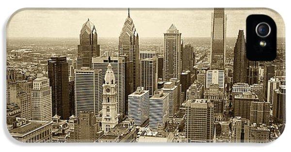 Philadelphia iPhone 5 Cases - Aerial View Philadelphia Skyline Wth City Hall iPhone 5 Case by Jack Paolini