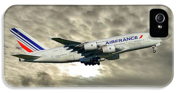 French iPhone 5 Case - Air France Airbus A380-861 115 by Smart Aviation