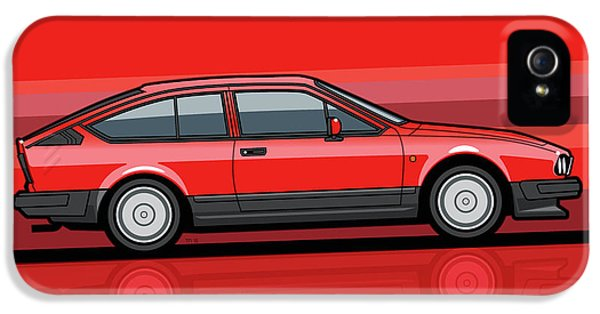 Alfa Romeo Gtv6 Red Stripes IPhone 5 Case by Monkey Crisis On Mars