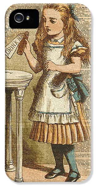 Alice In Wonderland Drink Me Vintage Dictionary Art Illustration IPhone 5 Case by Jacob Kuch