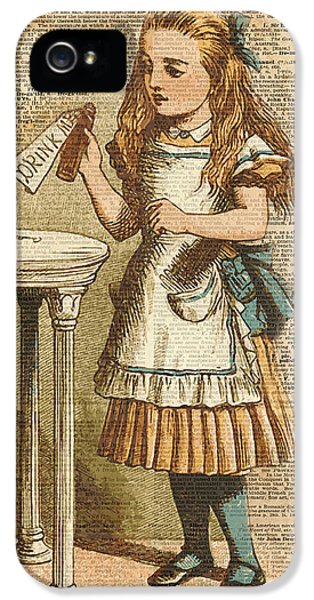 Animals iPhone 5 Case - Alice In Wonderland Drink Me Vintage Dictionary Art Illustration by Anna W