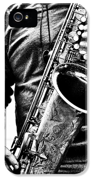 Saxophone iPhone 5 Case - All Blues Man With Jazz On The Side by Bob Orsillo
