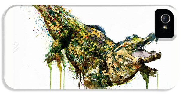 Alligator Watercolor Painting IPhone 5 Case by Marian Voicu