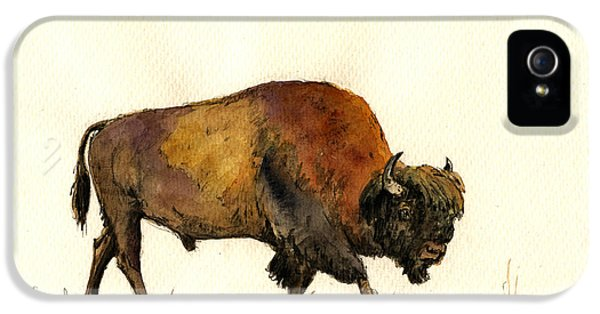 American Buffalo Watercolor IPhone 5 / 5s Case by Juan  Bosco