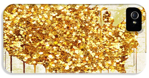 Glitter Gold American Map IPhone 5 Case by Mindy Sommers