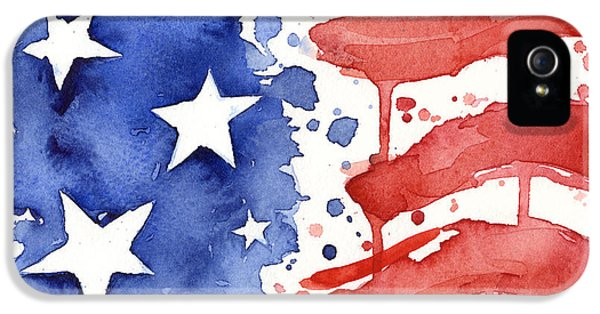 Landmarks iPhone 5 Case - American Flag Watercolor Painting by Olga Shvartsur