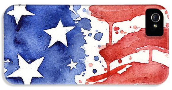 American Flag Watercolor Painting IPhone 5 Case by Olga Shvartsur