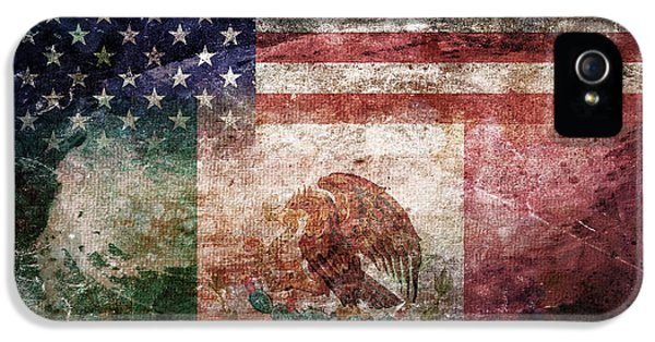 American Mexican Tattered Flag  IPhone 5 Case by Az Jackson