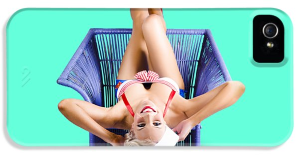 American Pinup Woman Upside Down On Cane Chair IPhone 5 Case by Jorgo Photography - Wall Art Gallery