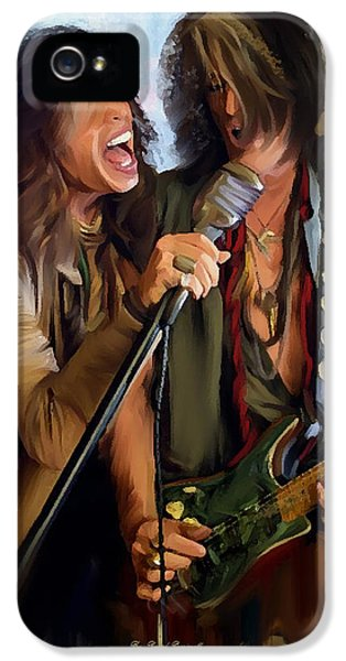 Steven Tyler iPhone 5 Case - American Rock  Steven Tyler And Joe Perry by Iconic Images Art Gallery David Pucciarelli