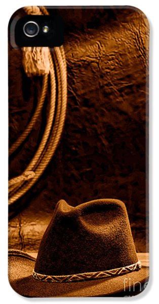 American West Rodeo Cowboy Hat And Lasso - Sepia IPhone 5 Case by Olivier Le Queinec