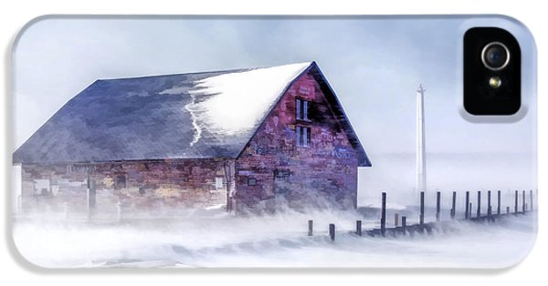 IPhone 5 Case featuring the painting Anderson Dock Winter Storm by Christopher Arndt