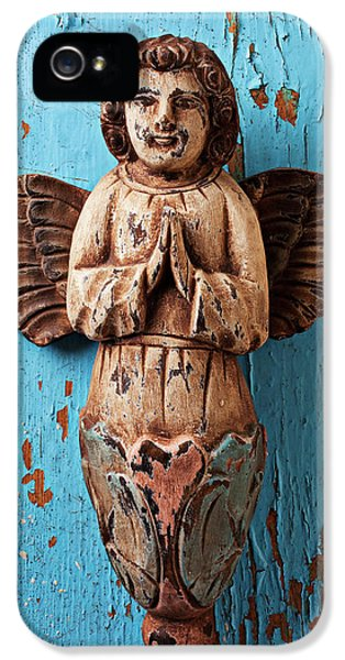 Angel On Blue Wooden Wall IPhone 5 Case by Garry Gay