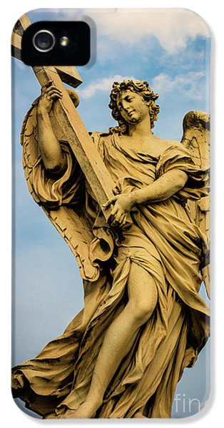 Angel With Cross IPhone 5 Case by Inge Johnsson