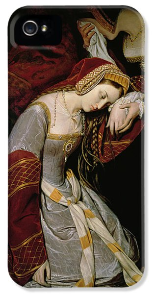 Anne Boleyn In The Tower IPhone 5 Case by Edouard Cibot