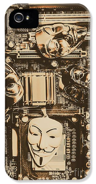Anonymous Cyber Masks IPhone 5 Case by Jorgo Photography - Wall Art Gallery