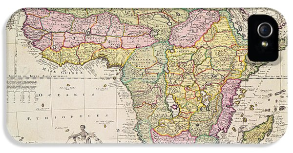Crocodile iPhone 5 Case - Antique Map Of Africa by Pieter Schenk