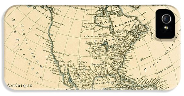 Antique Map Of North America IPhone 5 Case by Guillaume Raynal