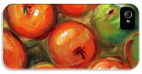 IPhone 5 Case featuring the painting Apple Barrel Still Life by Nancy Merkle