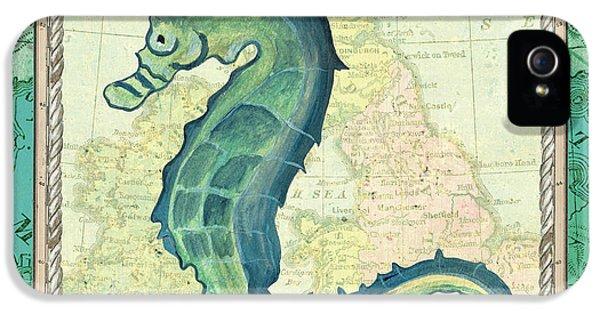 Seahorse iPhone 5 Case - Aqua Maritime Seahorse by Debbie DeWitt